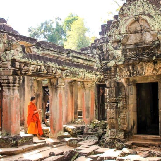 Angkor Wat Tempel und Mönch