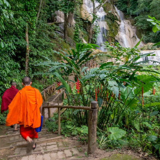 Kuang Si Waterfall with Monks Laos